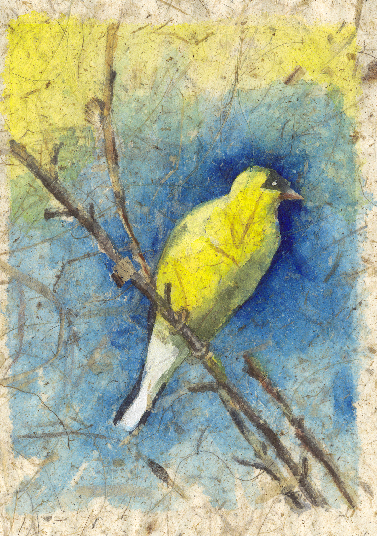 Yeloow Bird on Rice Paper